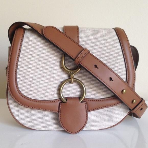 33089210954e Ralph Lauren Barrington Saddle Crossbody Bag tan